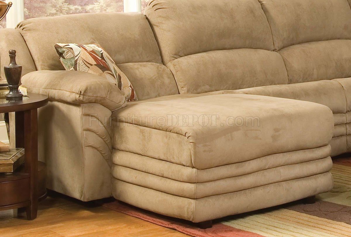 Beige Microfiber Cozy Sectional W Reclining Chaise