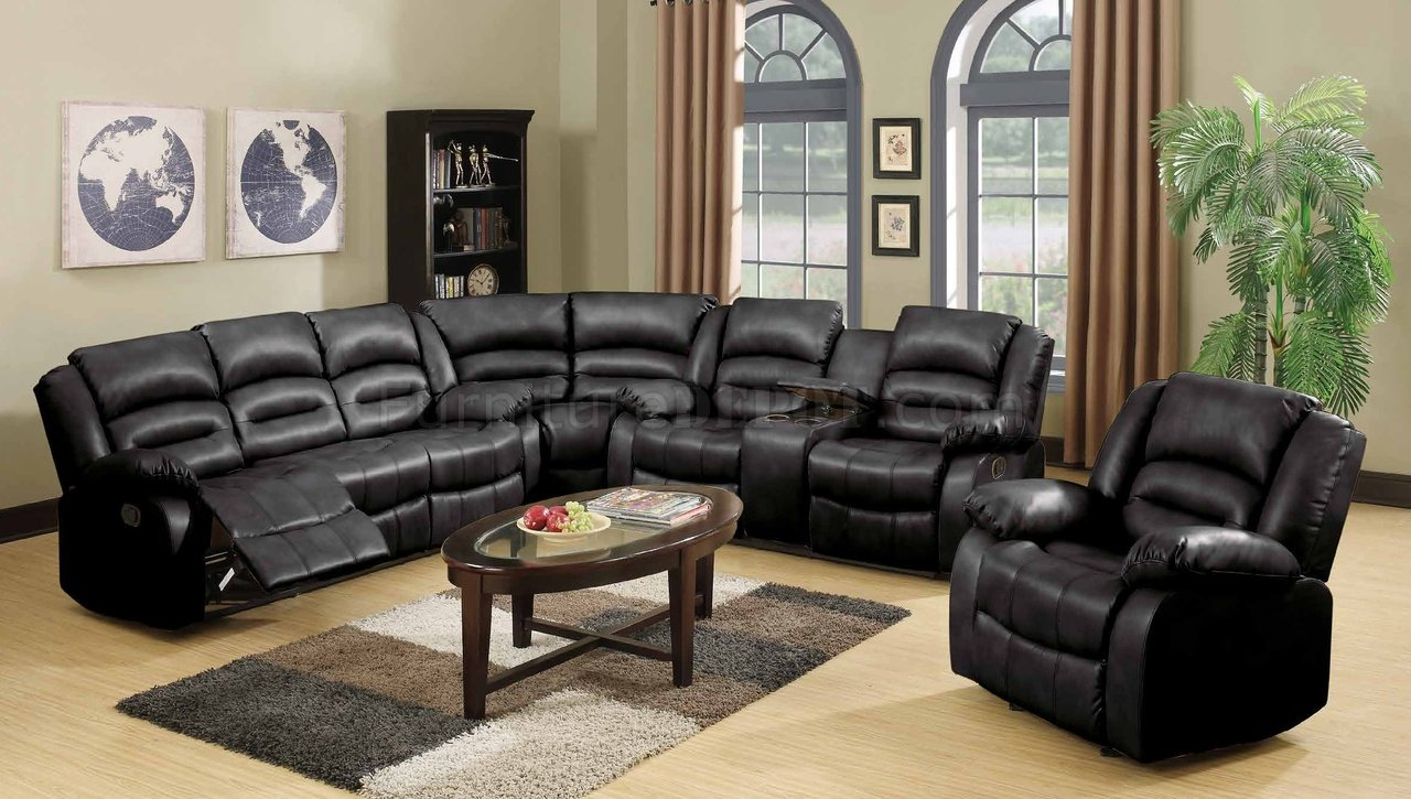& 9171/9241 Reclining Sectional Sofa in Black Bonded Leather islam-shia.org