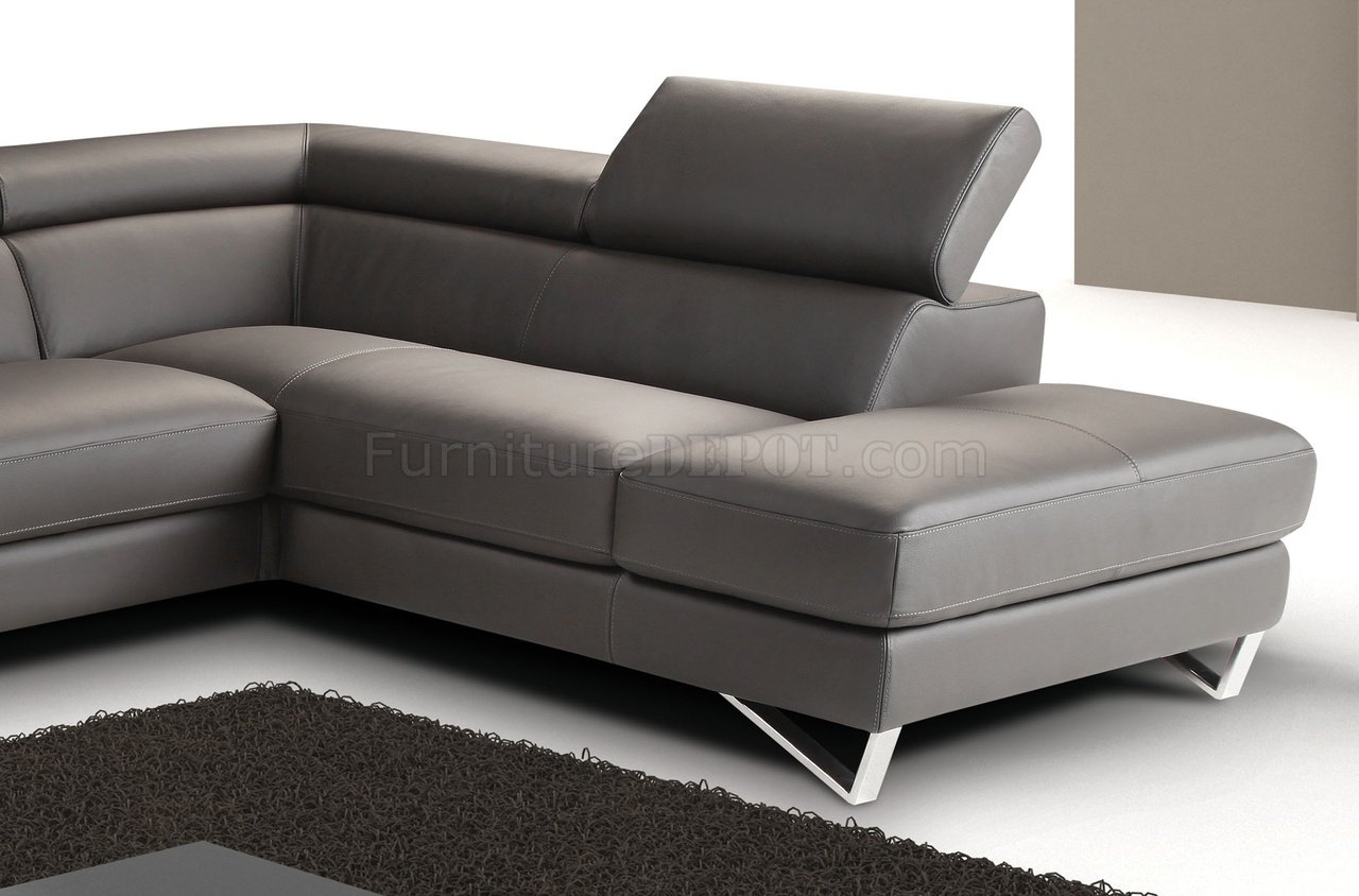Grey Full Leather Modern Sectional Sofa WSteel Legs - Dark grey leather sectional sofa