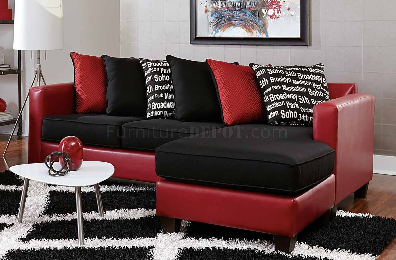3006 sectional sofa in red bicast black microfiber for Black microfiber chaise