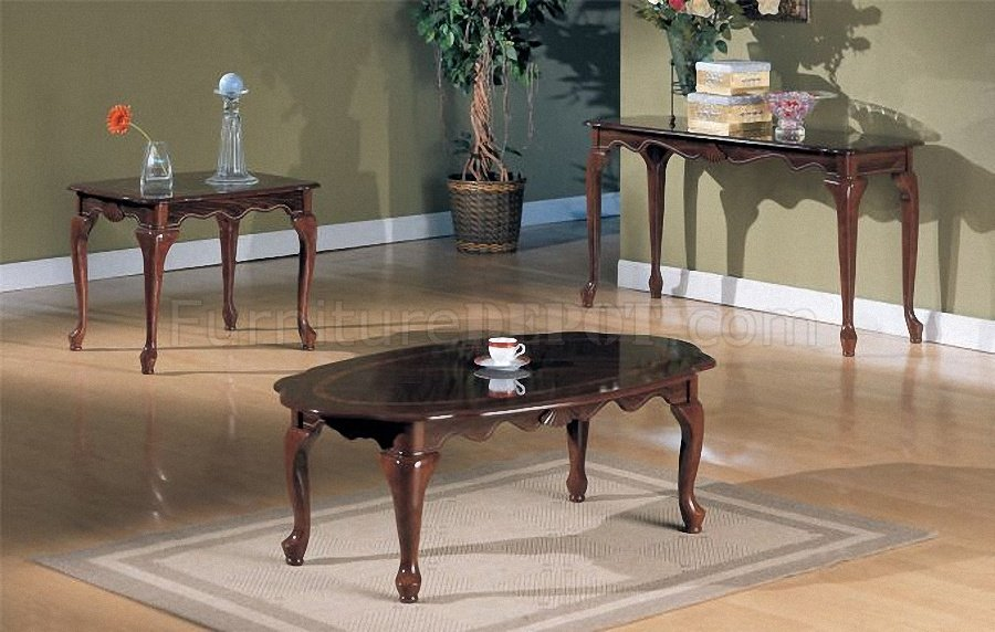 Cherry Wood Finish Traditional 3pc Coffee Table Set