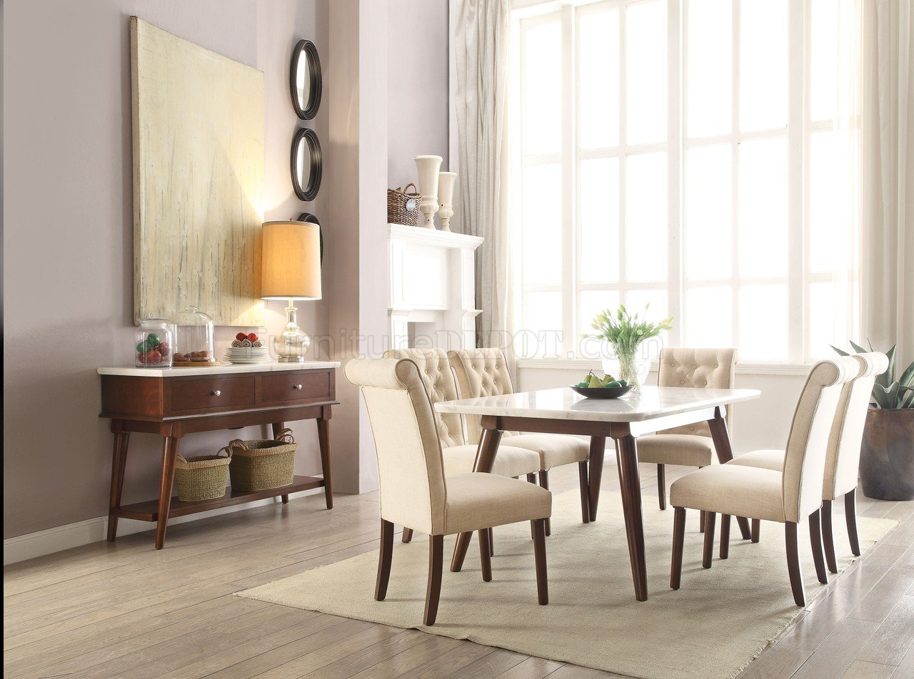 Gasha Dining Table 5Pc Set 72820 White Marble Top & Walnut