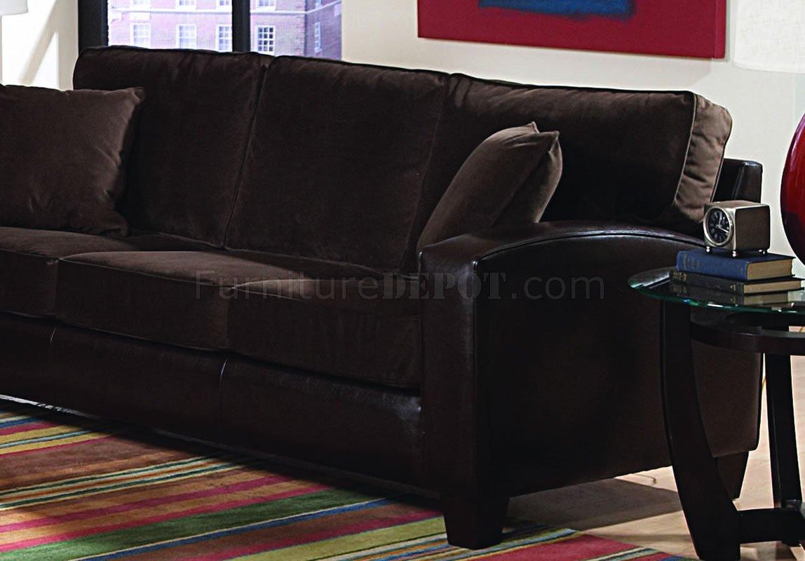 Brown Velvet Living Room With Dark Bycast Base Sofa