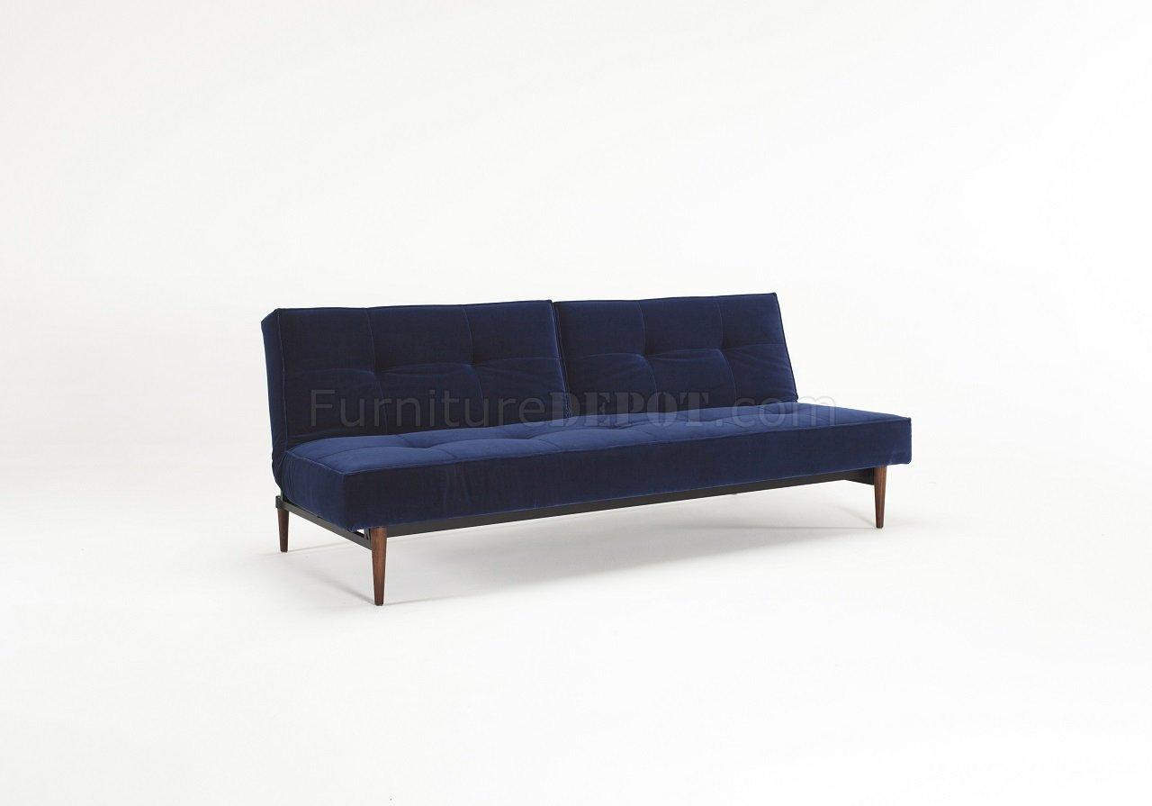 splitback sofa bed in blue velvet w wood legs by innovation. Black Bedroom Furniture Sets. Home Design Ideas