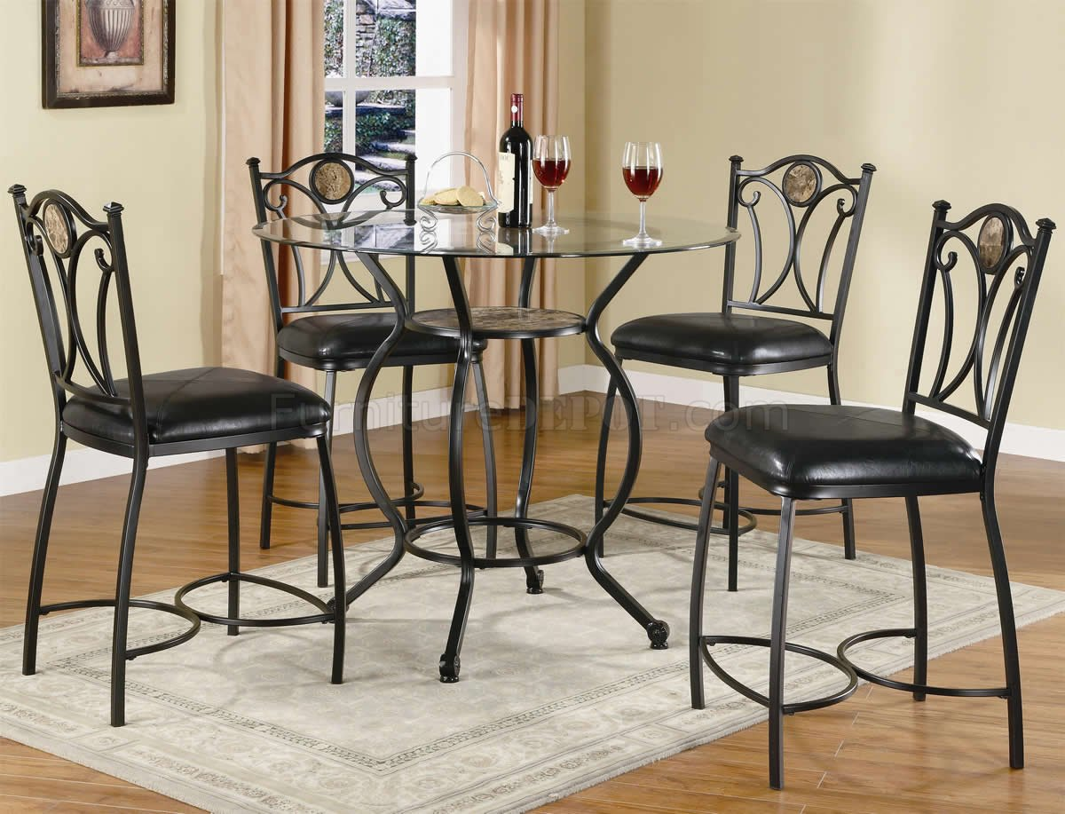 Glass Top Amp Black Metal Base 5pc Counter Height Dining Set
