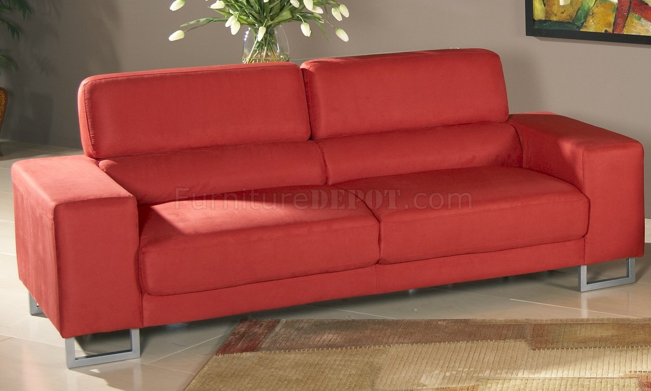 Red Microfiber Modern Sofa & Loveseat Set w Metal Legs