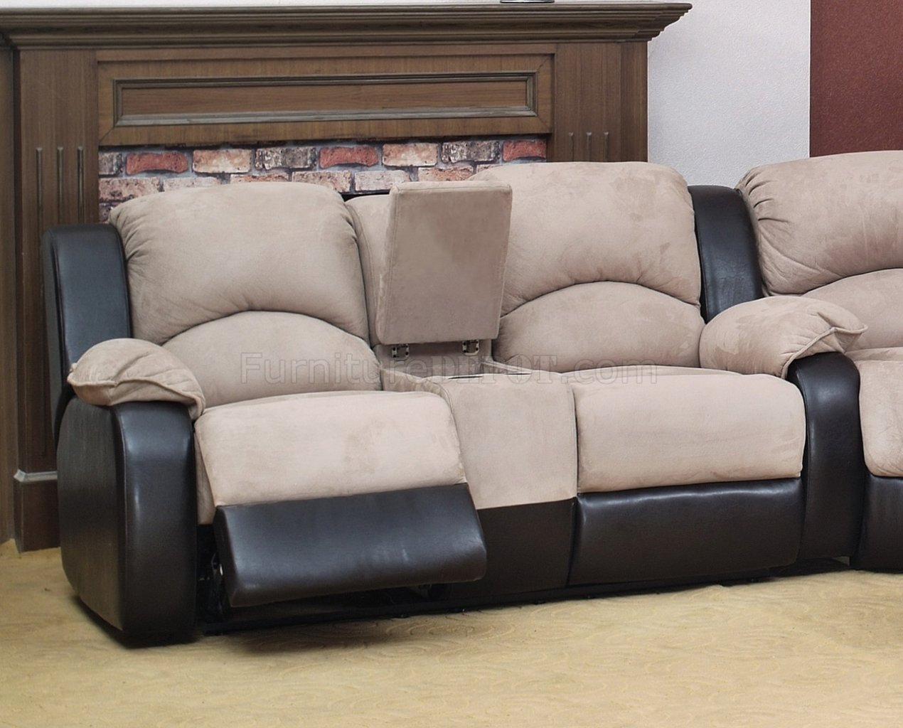 Beige Fabric Modern Reclining Sectional Sofa W Optional Chair