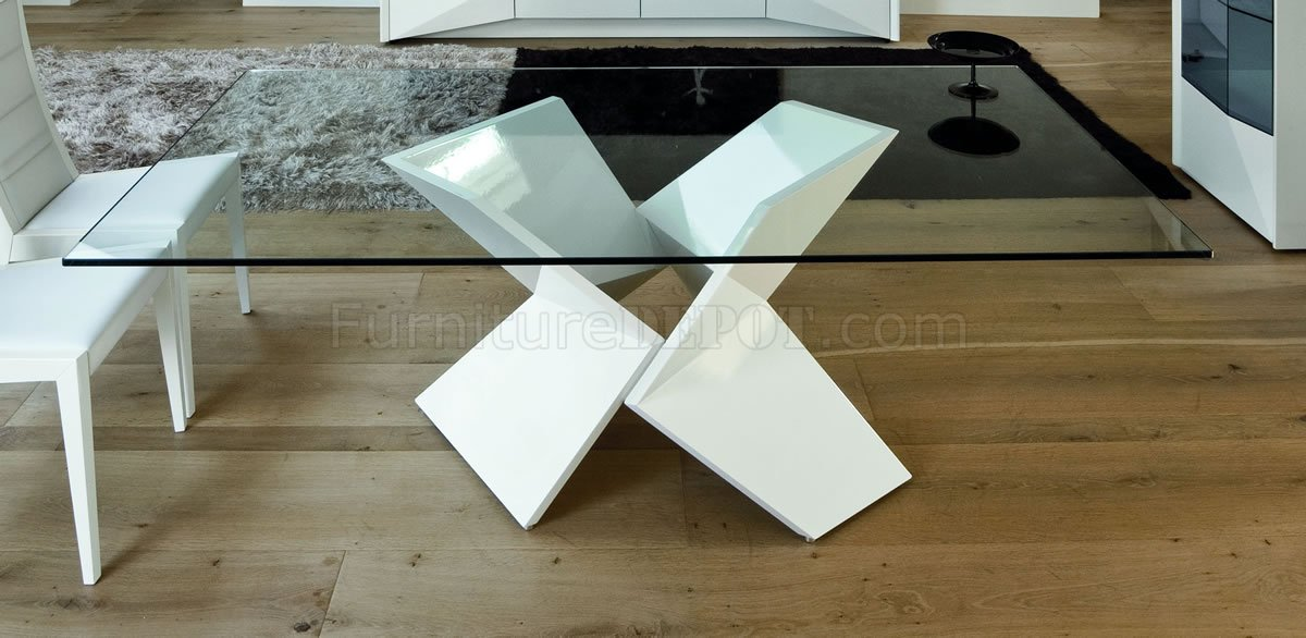 White Ultra Modern Dining Table WTwo Pedestal Legs Glass Top - Very modern dining table