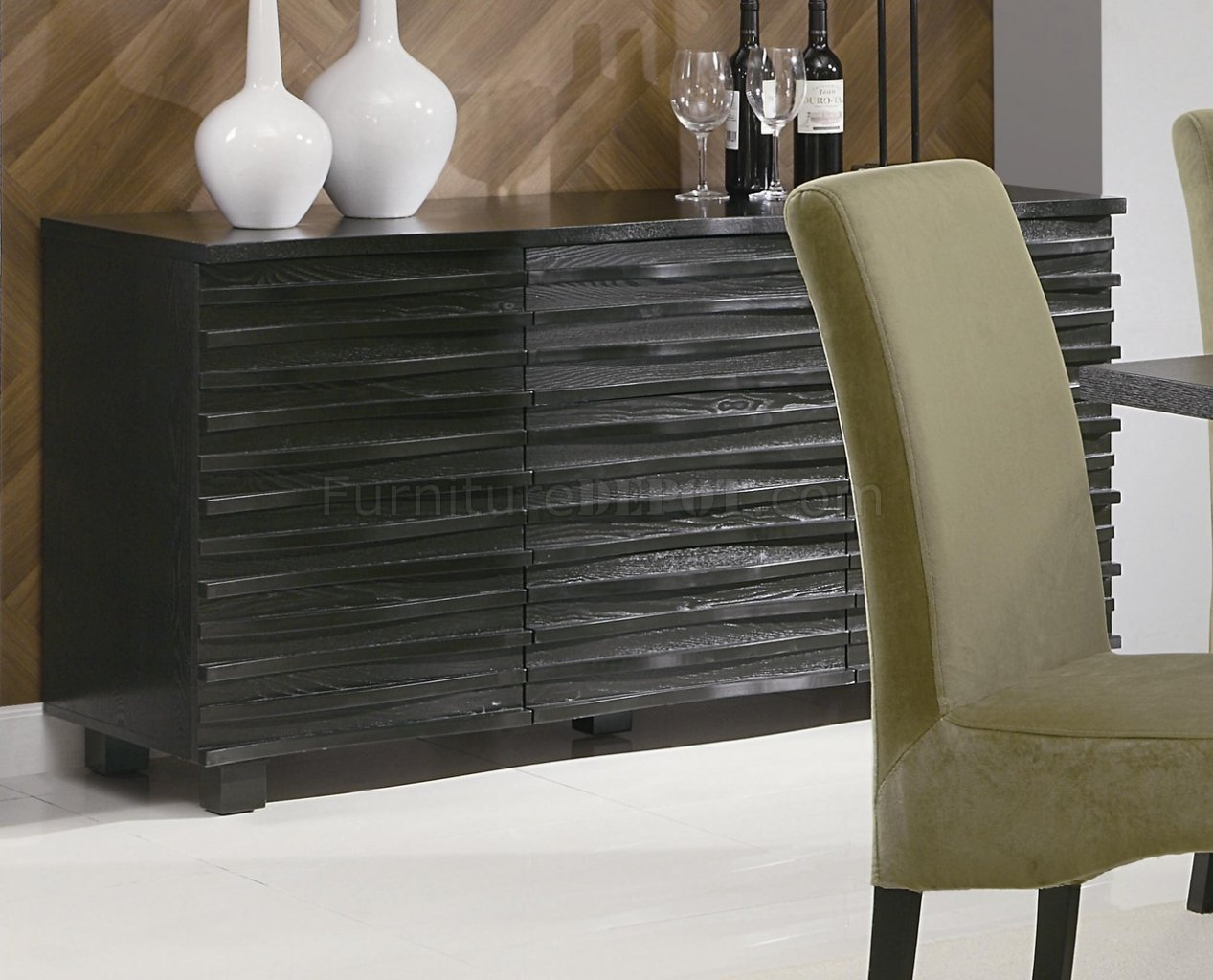 Rich Black Finish Modern Dining Table w/Optional Chairs & Server