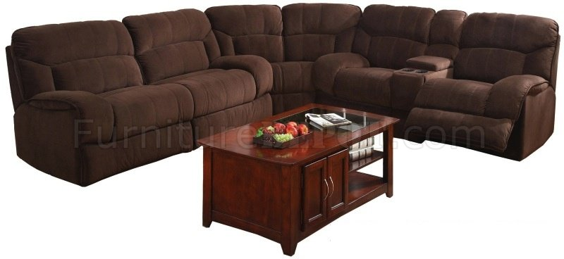 Chocolate Microfiber Modern Sectional Sofa W 4 Recliners