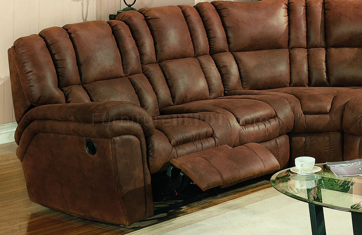 Brown Specially Treated Microfiber Sectional Sofa W/Recliner