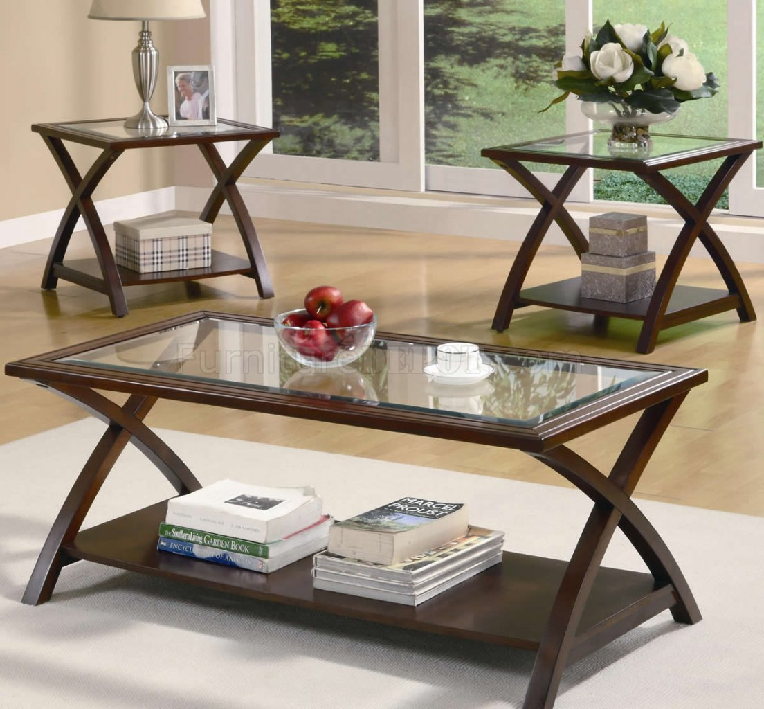 Rich cappuccino finish modern 3pc coffee table set w glass top Glass modern coffee table sets