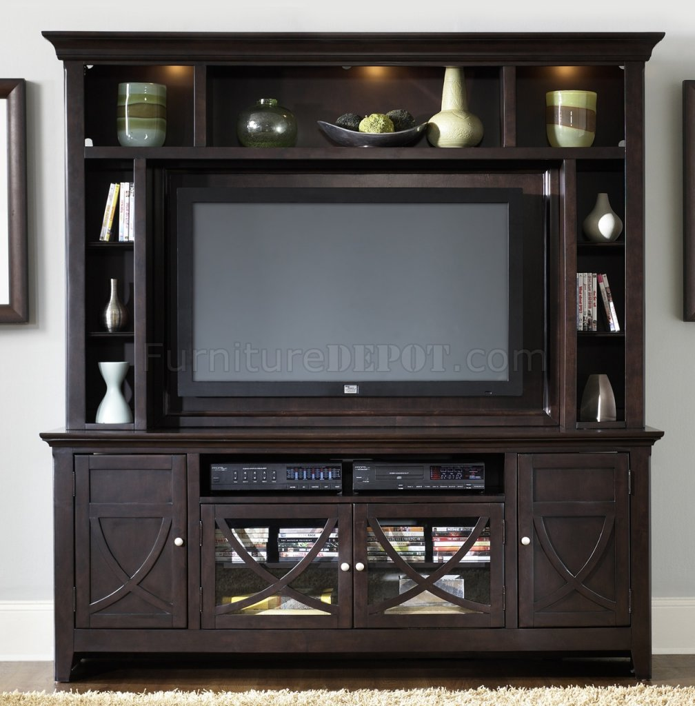 Dark mocha finish entertainment unit w ample storage for Ample storage