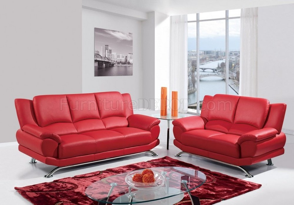 Sweet Affordable Living Room Sets. U9908 Sofa in Red Bonded Leather by Global w Options