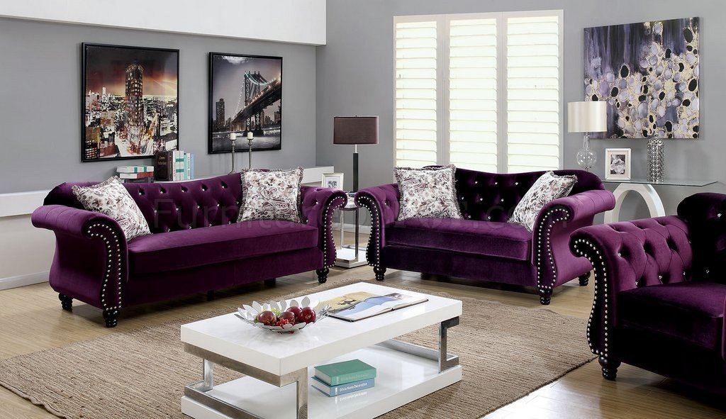 Jolanda Sofa Cm6159pr In Plum Fabric W Options