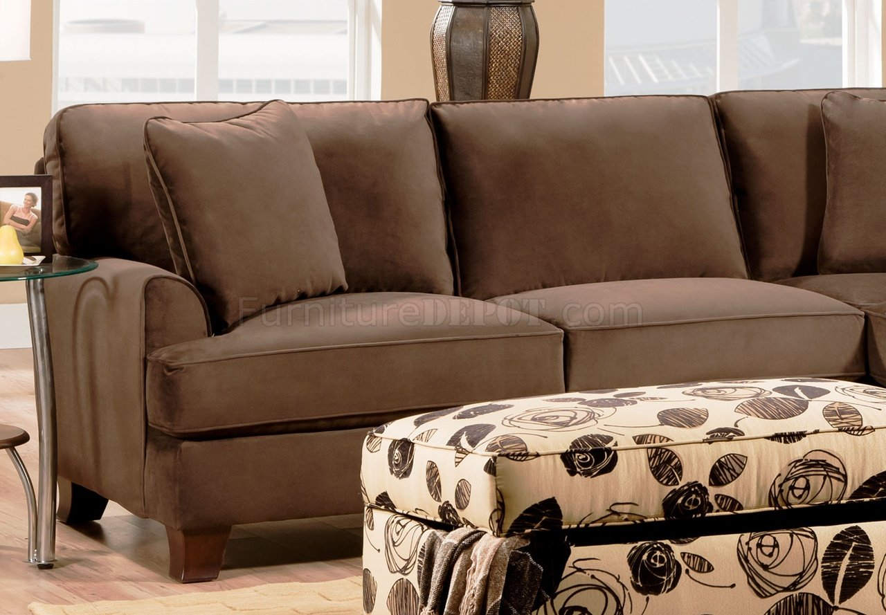 Bella Chocolate Fabric Sectional Sofa w/Optional Chair u0026 Ottoman : bella sectional - Sectionals, Sofas & Couches