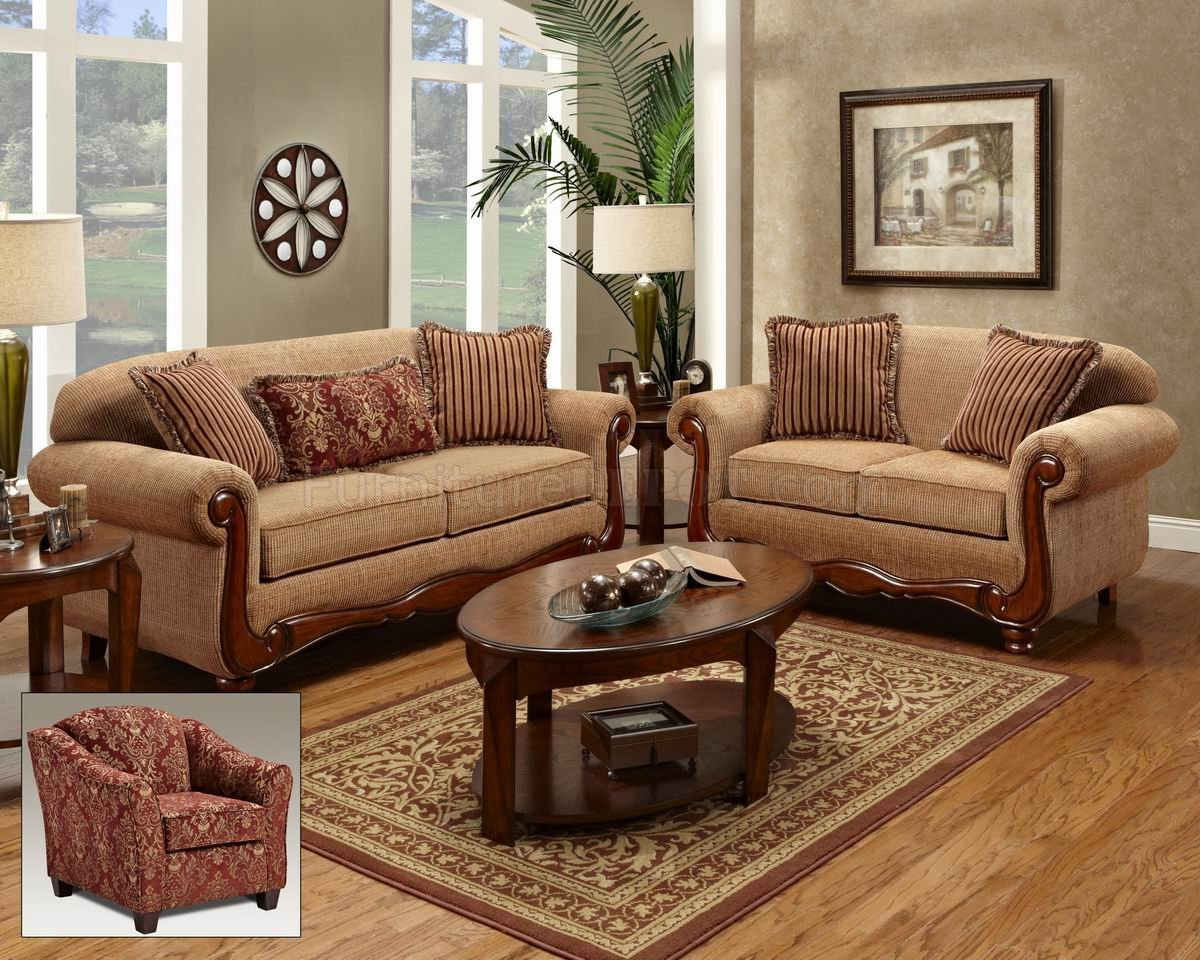 Beige Fabric Traditional Loveseat Sofa Set W Options