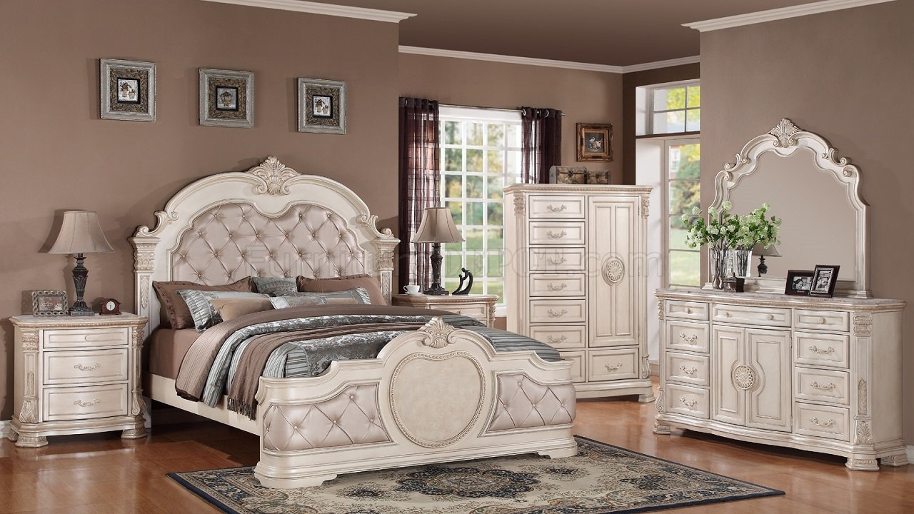 Infinity traditional 5pc bedroom set in antique white w - Traditional white bedroom furniture ...