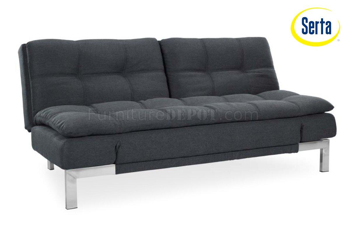 Umber microfiber modern convertible sofa bed w steel legs Convertible loveseat bed