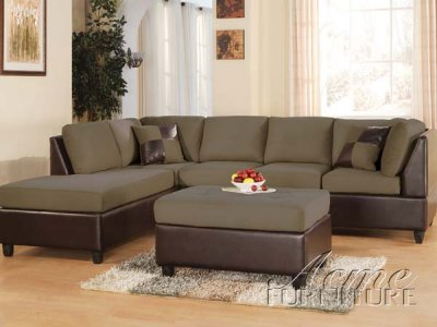 Pebble Fabric Amp Brown Bycast Leather Two Tone Sectional Sofa
