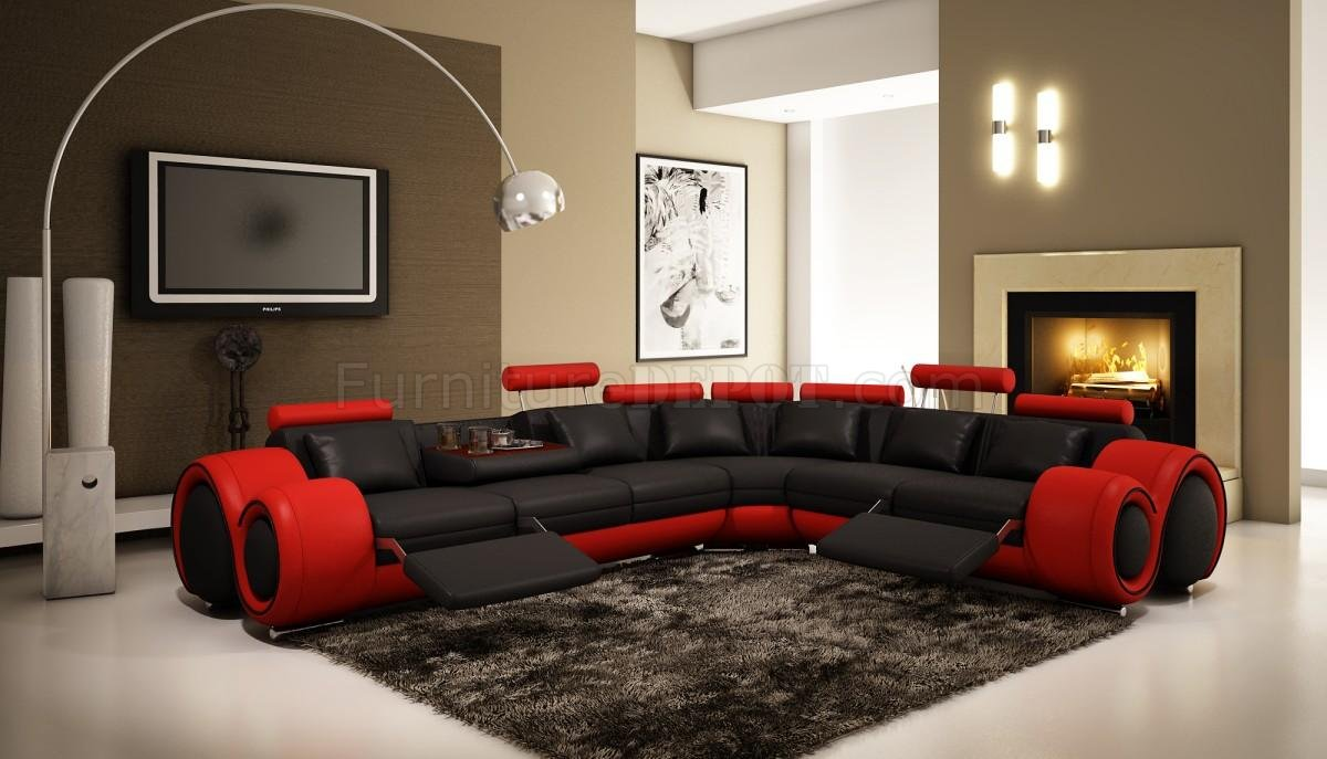 4087 Sectional Sofa in Black & Red Bonded Leather by VIG
