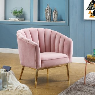 Colla Set Of 2 Accent Chairs 59814 In Pink Velvet Amp Gold