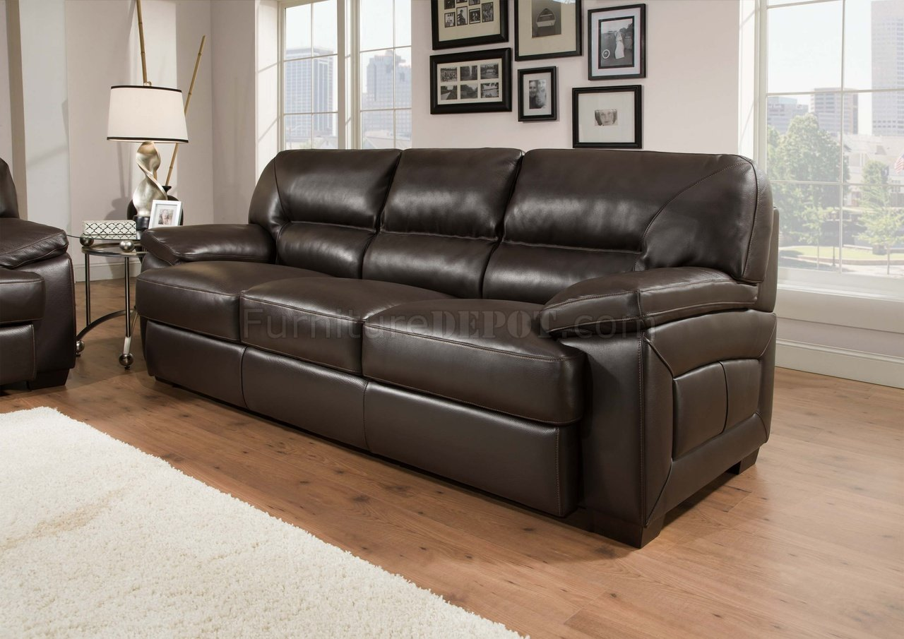 Truffle Brown Top Grain Leather Modern Sofa Loveseat Set