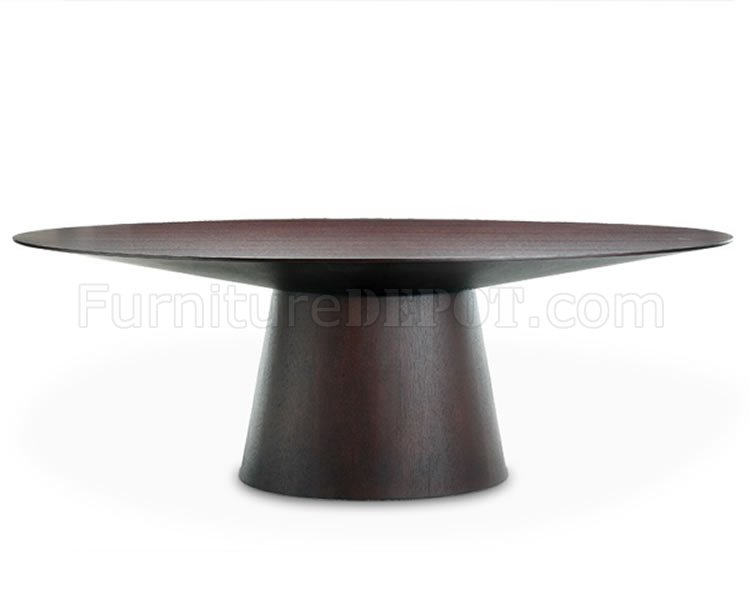Wenge Finish Modern Dining Table W/Oval Top
