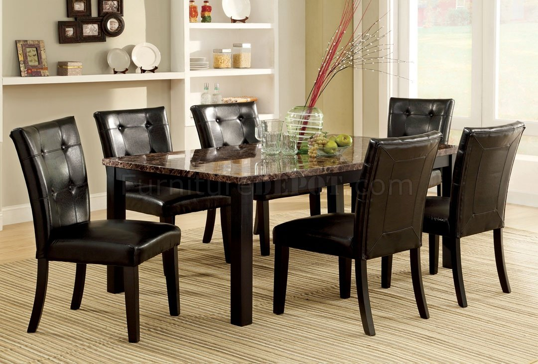 Cm3870t Boulder I 7pc Dining Set W Faux Marble Top
