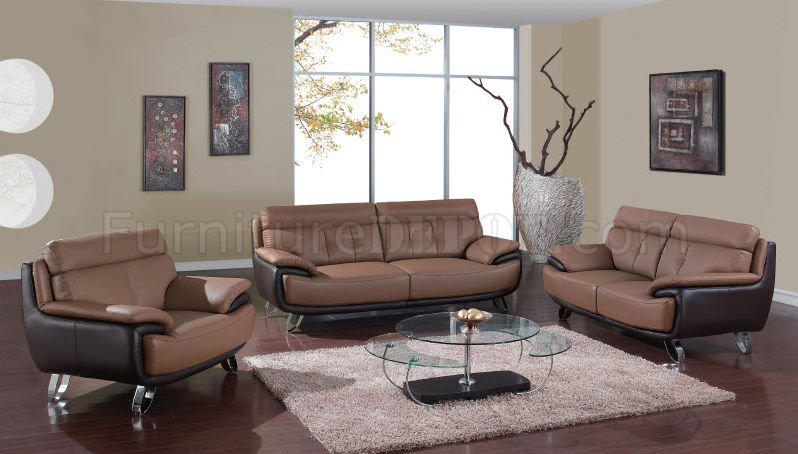 A159 Leather Sofa Loveseat In Tan Brown By Global