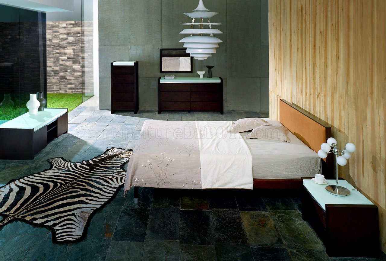Bedroom Sets Glass wenge finish stylish bedroom set with frosted glass design