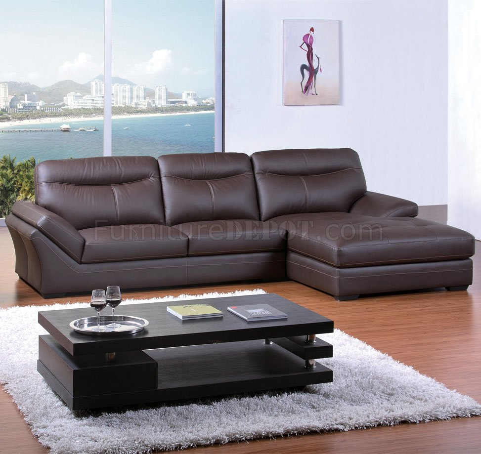 Elegant Models Of Contemporary Sofa Chocolate Bonded Leather Modern Elegant Sectional Sofa