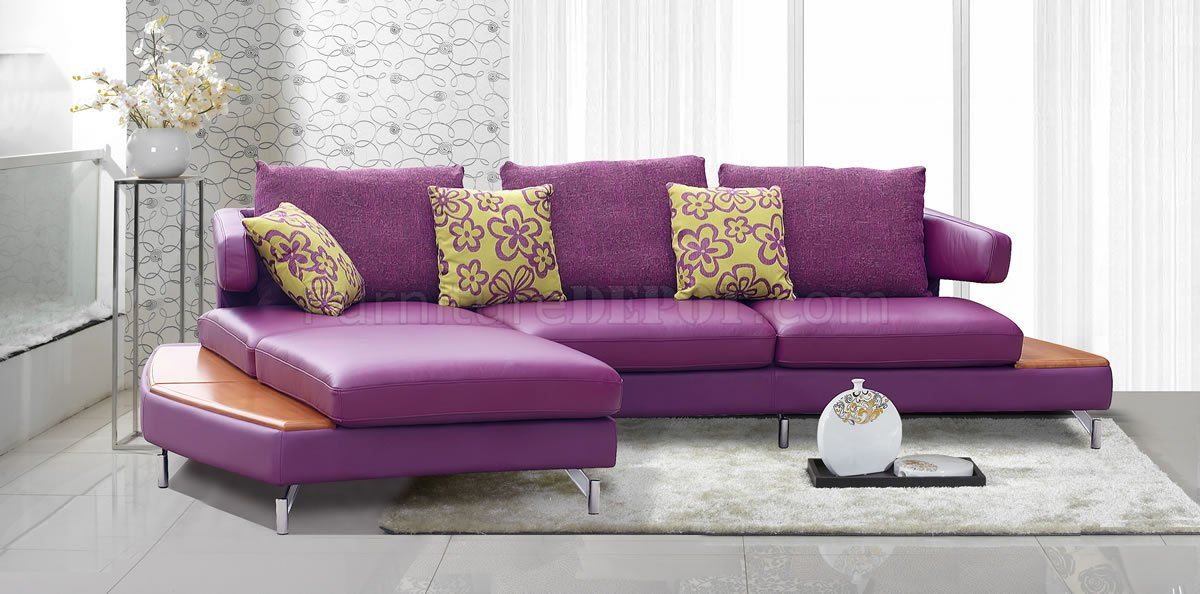 Purple genuine italian leather modern sectional sofa w shelves for Purple sofa
