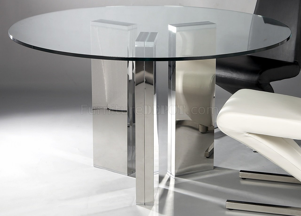 Round Tempered Glass Top Modern Dining Table W/Optional Chairs