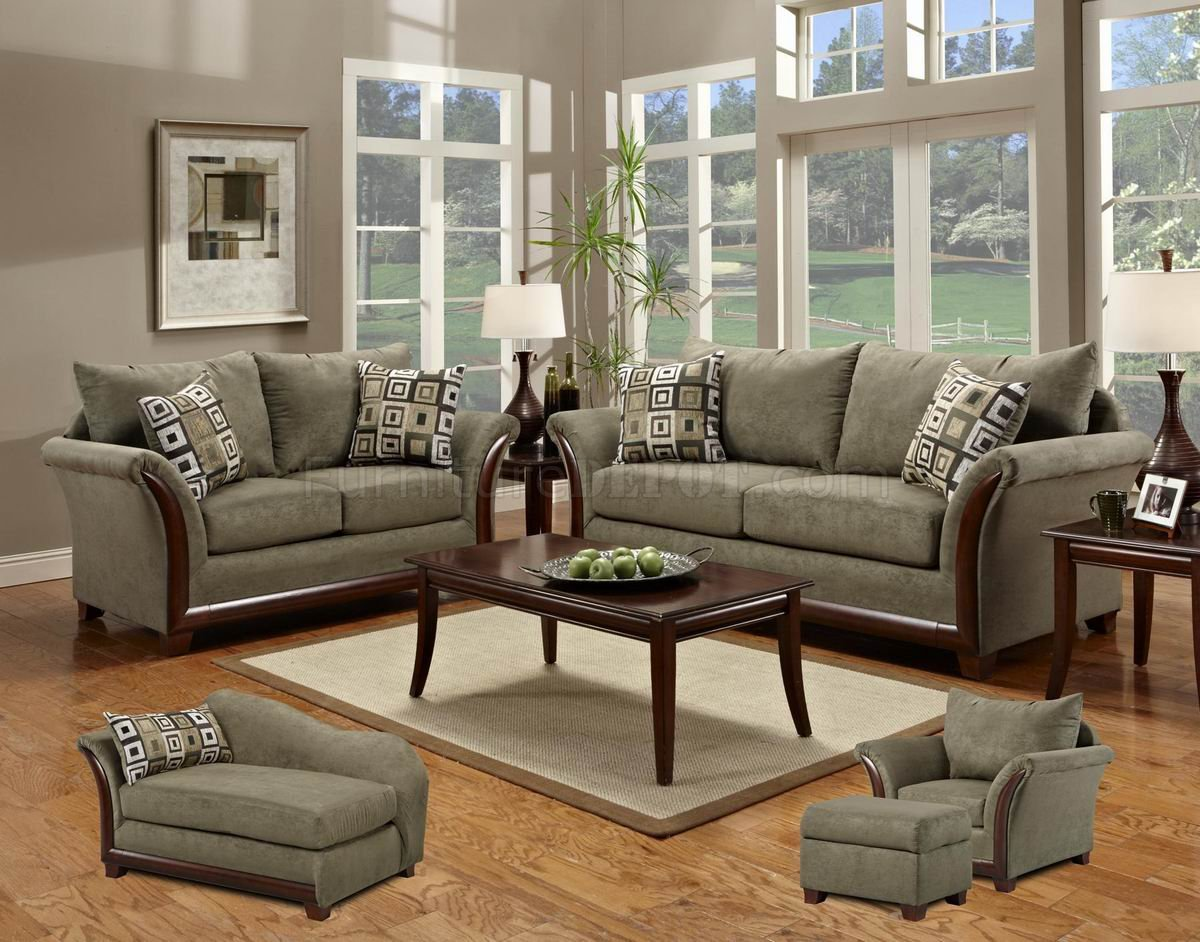 Green Fabric Modern Sofa Loveseat Set W Optional Items