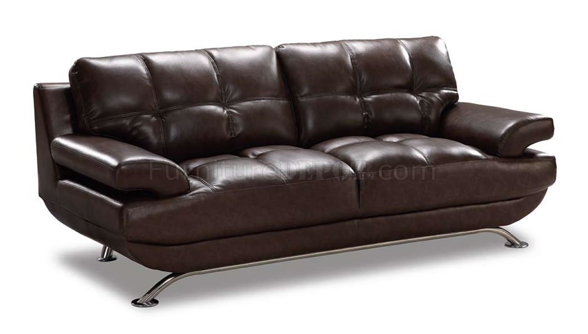 Brown Leather Elegant Contemporary Living Room W Tufted Seats