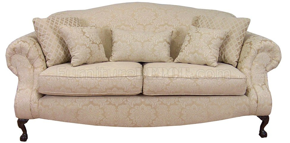 Cream fabric traditional sofa loveseat set w optional chair Cream fabric sofa