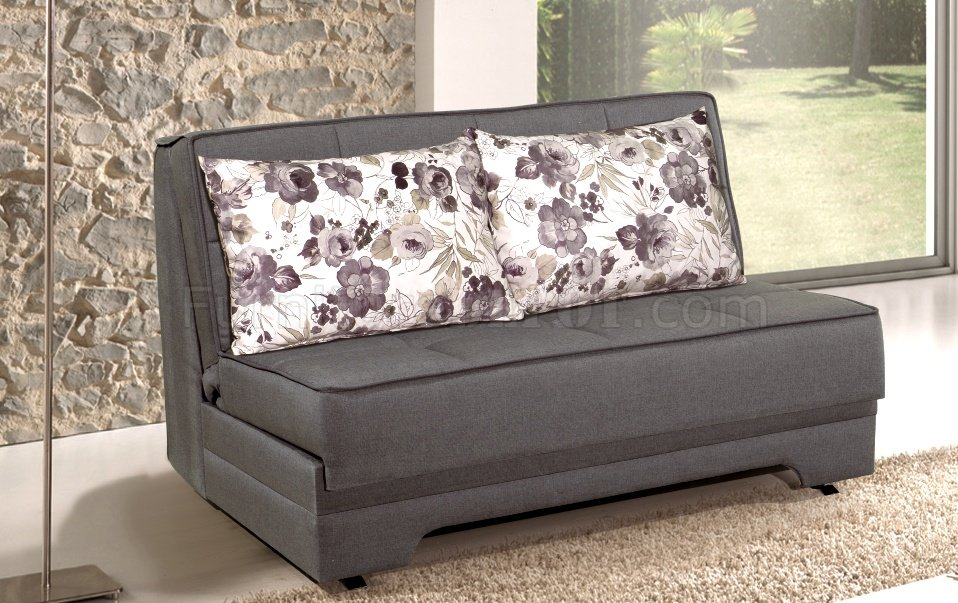 Rio pull out loveseat bed in grey fabric by rain Loveseat with pullout bed
