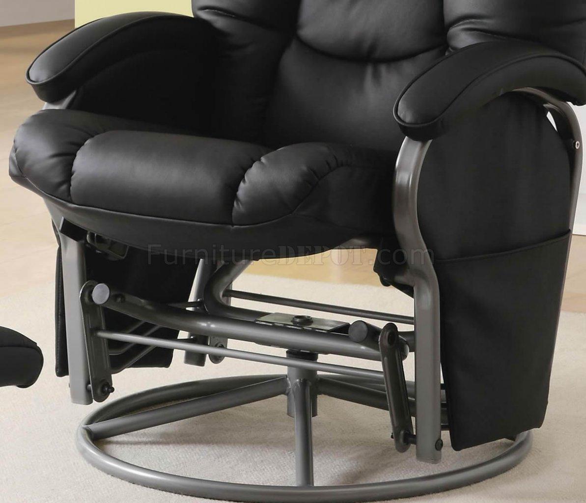 Black Letherette Modern Swivel Glider Chair W/Ottoman