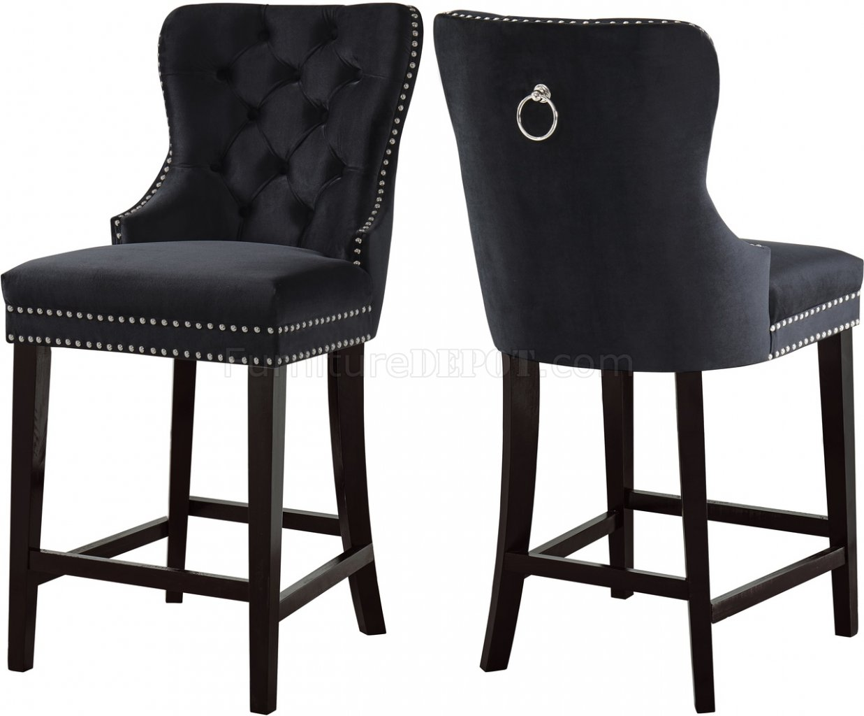 Nikki Stool 741 Set Of 2 In Black Velvet Fabric By Meridian