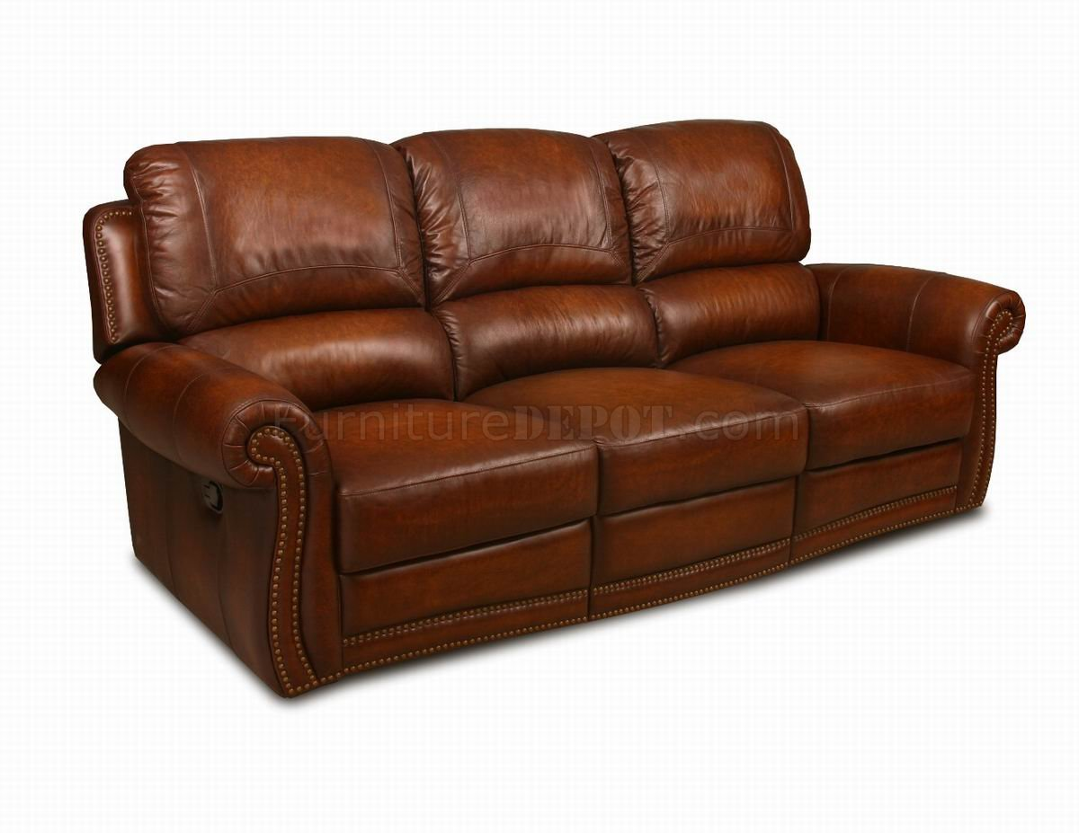 Leather Italia Light Brown Motion Parker Sofa Loveseat Set