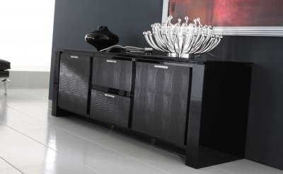 Black Finish Modern Buffet With Crystal Inlays