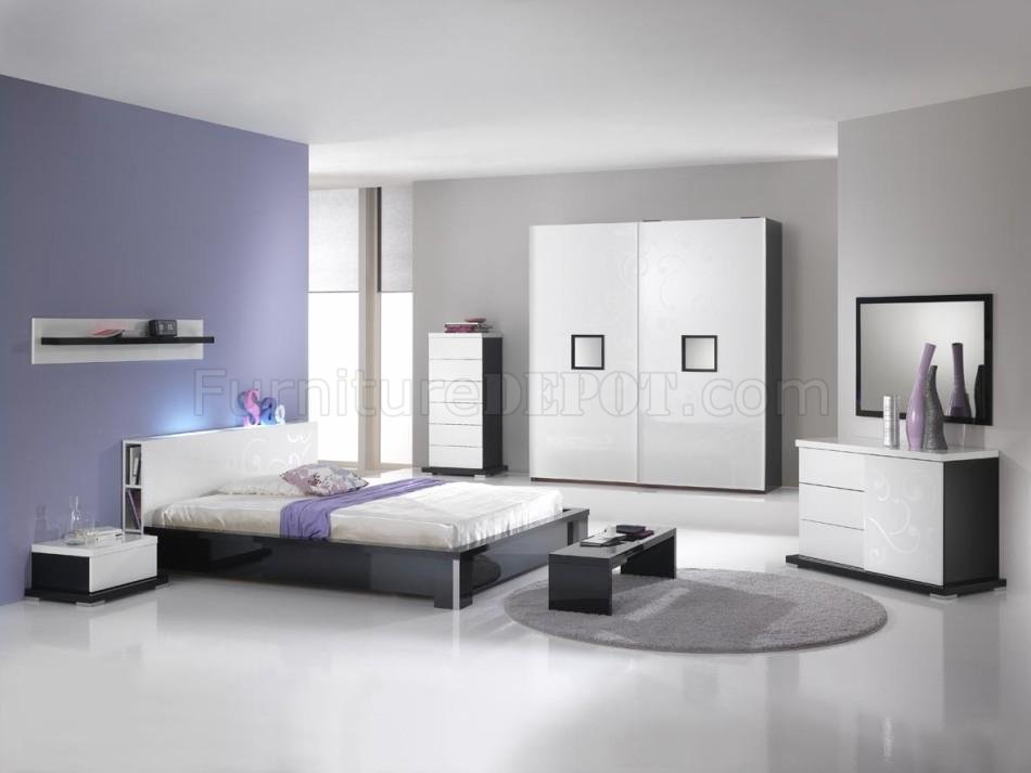 black white two tone 4pc modern bedroom set