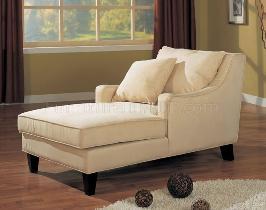 Cream microfiber classic chaise lounge w cappuccino finish for Bedroom chaise lounge