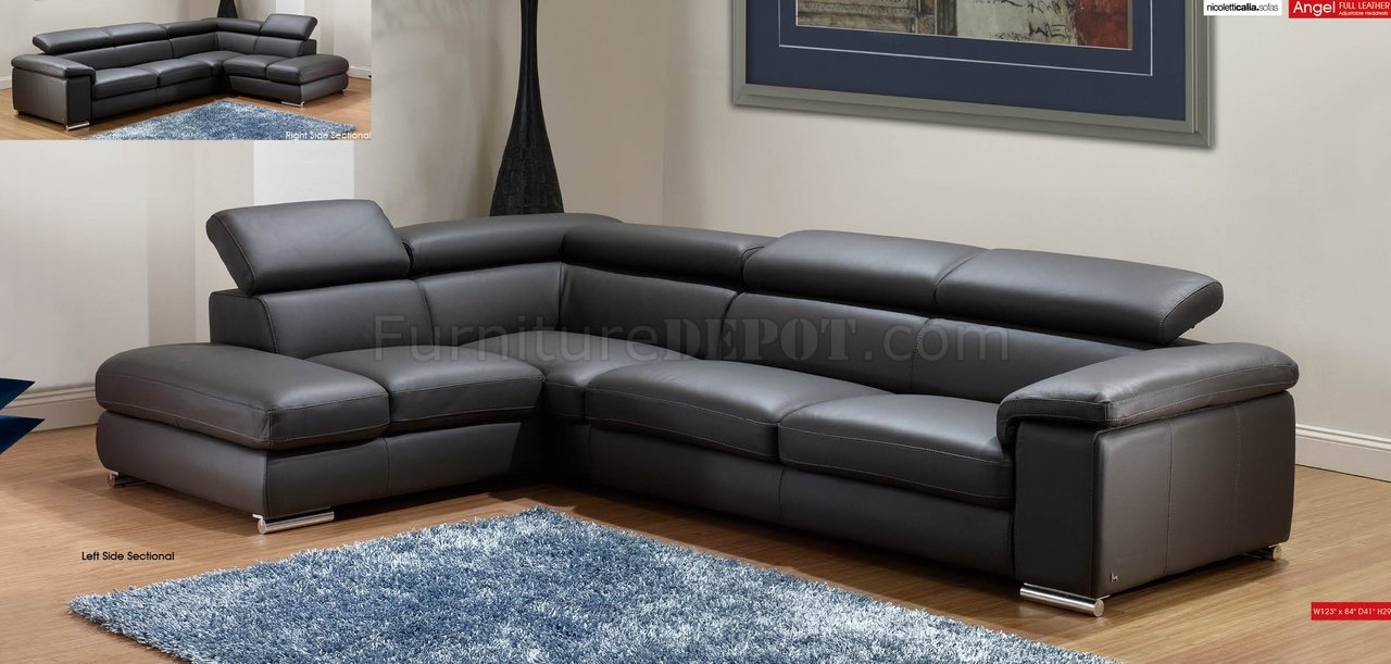 Dark Grey Leather Modern Sectional Sofa WAdjustable Headrests - Dark grey leather sectional sofa