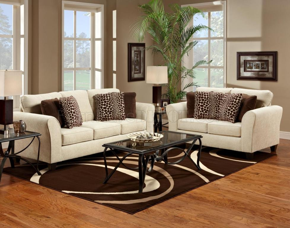 Cream fabric modern sofa loveseat set w options Fabric sofas and loveseats
