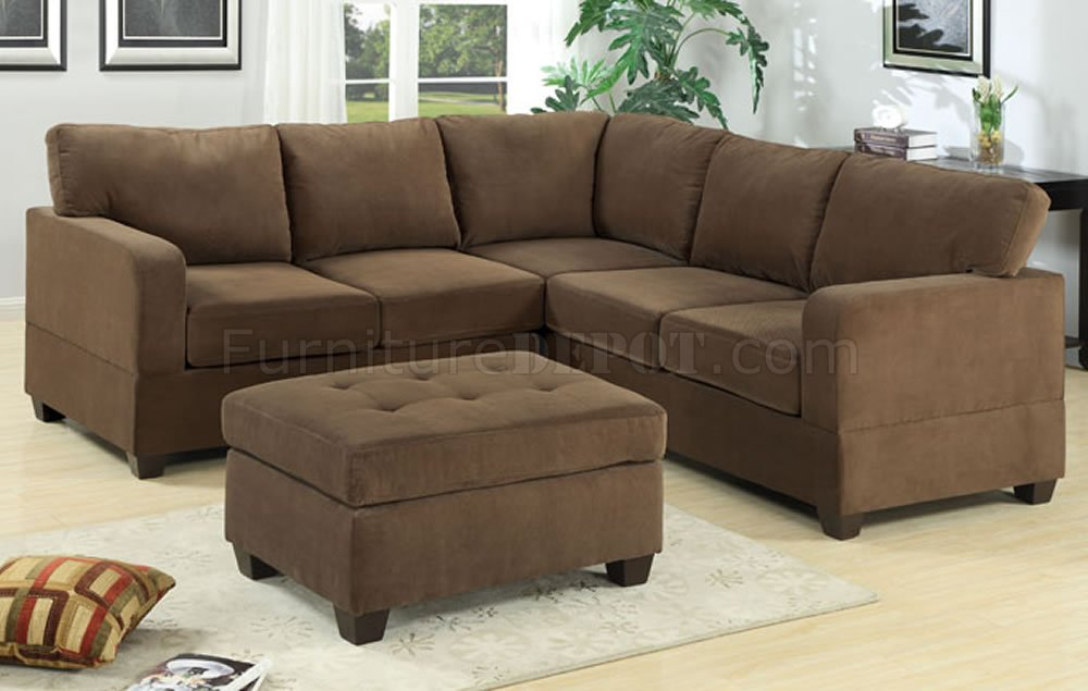 Truffle waffle suede modern casual sectional sofa w options for Suede sectional