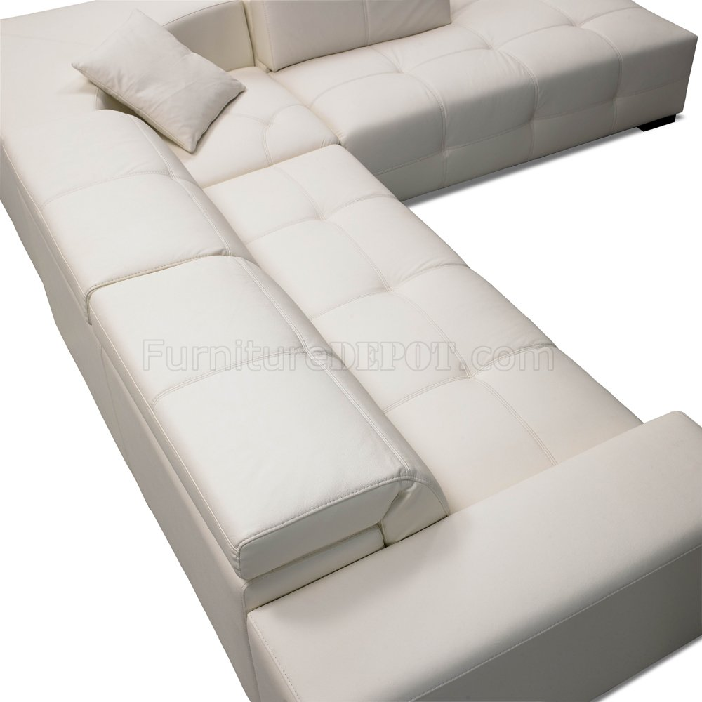 Excellent White Italian Leather Modern Sectional Sofa Adjustable Headrest Andrewgaddart Wooden Chair Designs For Living Room Andrewgaddartcom