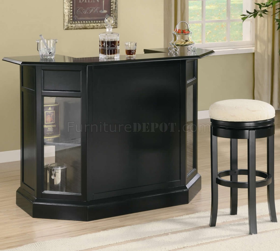 Black Finish Modern Bar Unit w/Wine Rack & Stemware Storage