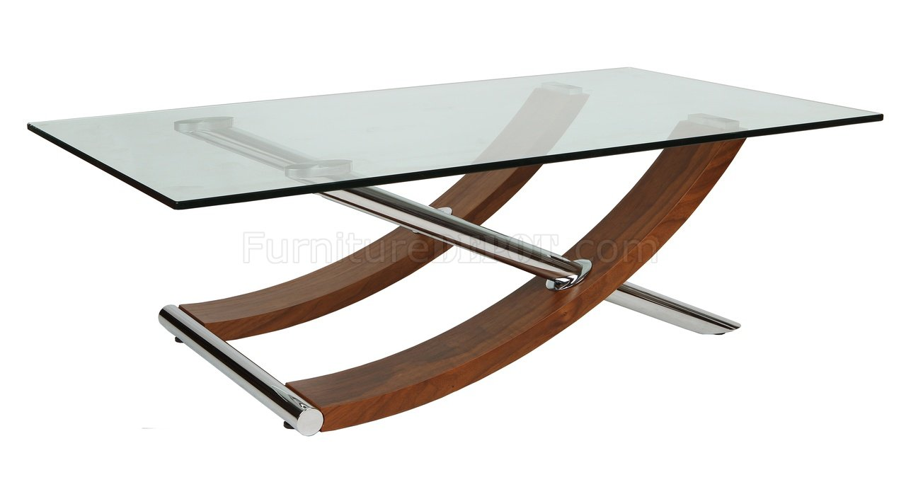 Robin coffee table in walnut w clear glass top by whiteline Clear coffee table